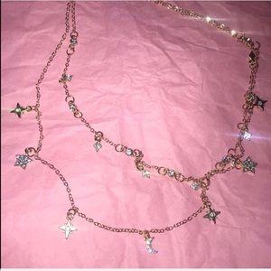 Star & Moon rhinestone charm gold necklace💫